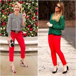 J. CREW Minnie Pants Skinny Flame Red Ankle Crop 0